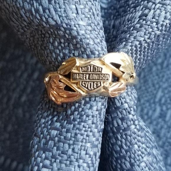 7afe4b9bbc1e5 10k Tri Color Gold Harley Davidson Ring
